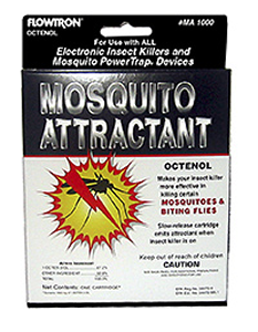 Flowtron Octenol Mosquito Attractant Cartridge 6-pack. Twice as effective as black light alone. Increases unit's effectiveness during daylight hours.